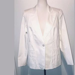 Marina Rinaldi White Cotton Blend Blazer Jacket